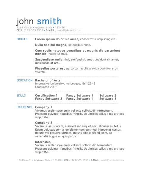 Template For Resume Word by 50 Free Microsoft Word Resume Templates For