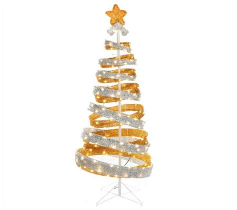 out door ribbon spursl trees kringle express 6 outdoor collapsible spiral tree page 1 qvc