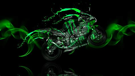 neon cycling monster energy fantasy moto kawasaki green acid 2013