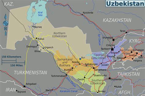 Usbekistan Regionen Karte | landkarte usbekistan karte regionen weltkarte com