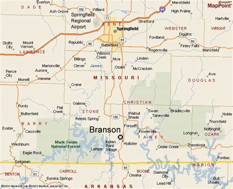 missouri map branson regional map of branson the air access is from