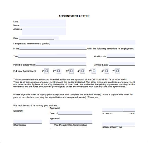 format of appointment letter for pdf sle appointment letter 28 free documents in