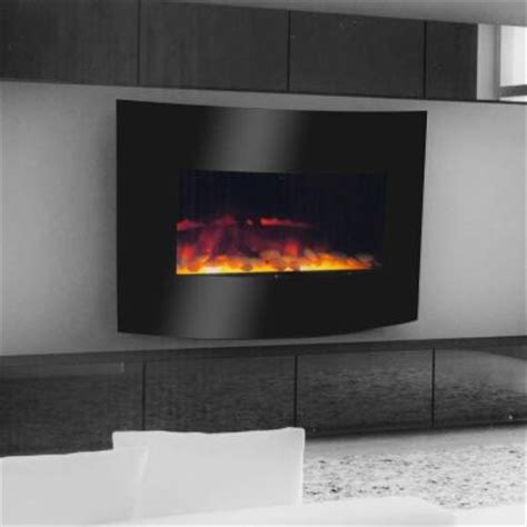 warm house curved glass 25 in electric fireplace in black