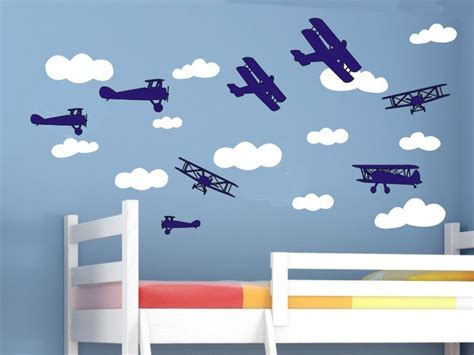 Airplane Wall Decals For Nursery Airplane Wall Decals And Cloud Wall Decal Set Air Plane Airplane Wall Stickers Bi Planes