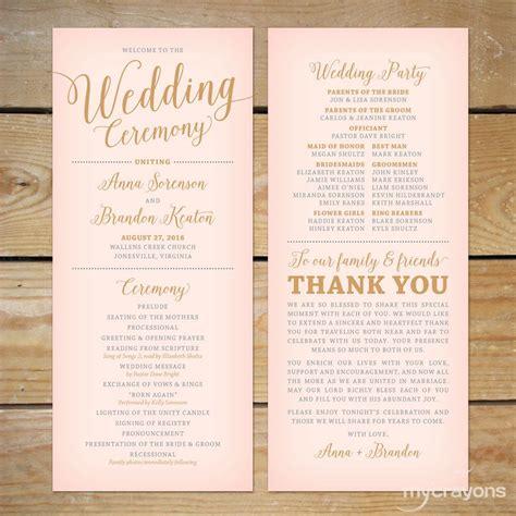 wedding program template printable wedding programs
