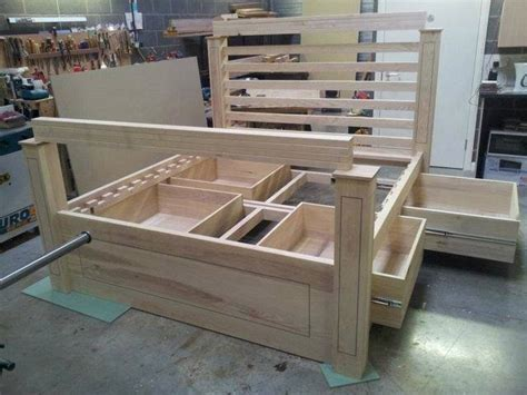 double wooden bed  storage woodworking project top