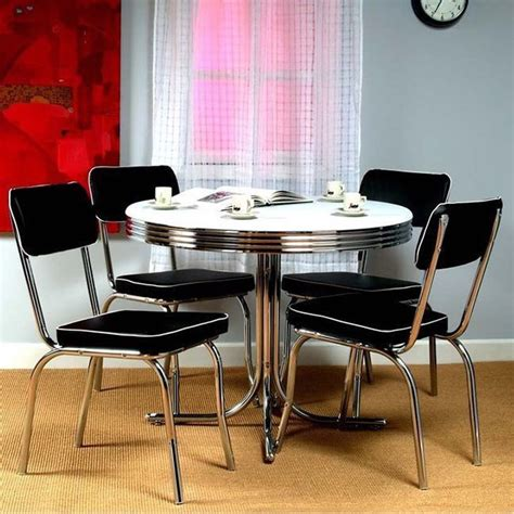 Retro Kitchen Furniture Retro Bistro Dining Table 4 Chairs Set Vintage Kitchen Chrome Dinette