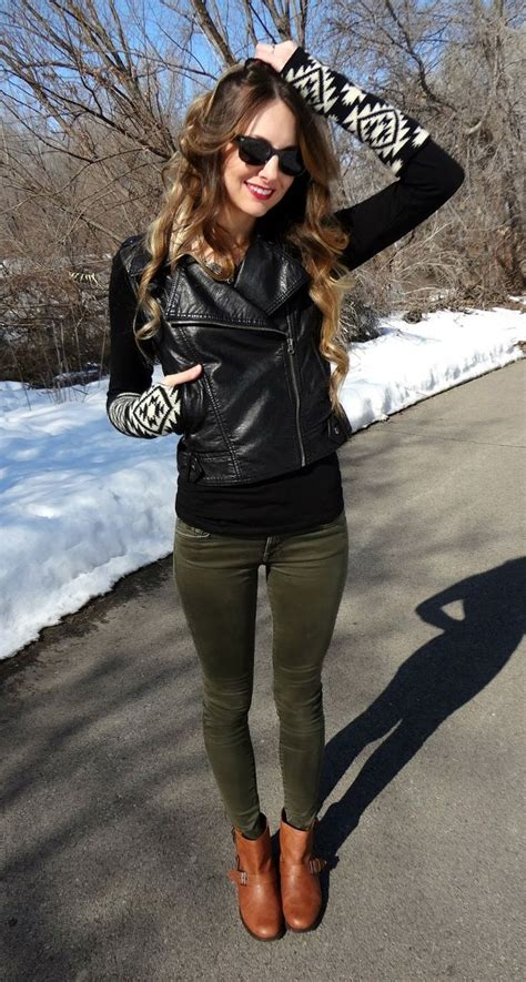 green skinnies moto jacket fashion