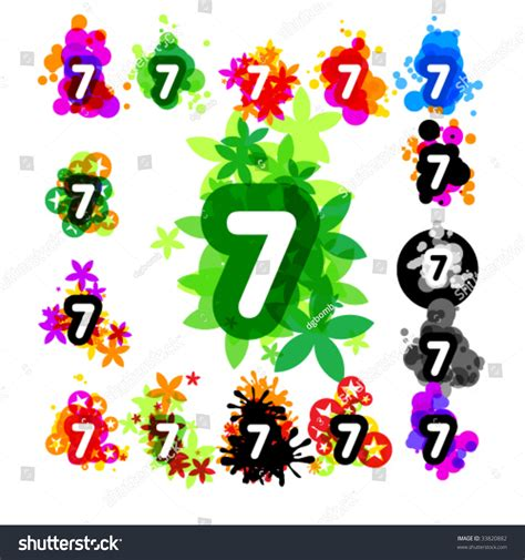 Colorful Set colorful set alphabet number 7 stock vector 33820882