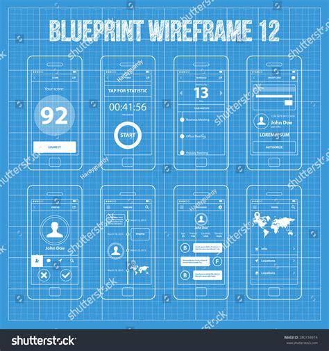blueprint design app mobile app wireframe blueprint ui kit stock vector
