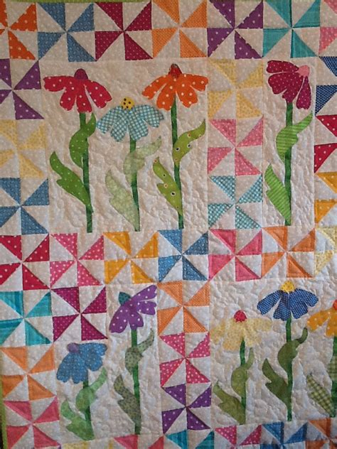 Handmade Applique Quilts - handmade baby quilt pinwheels appliqued flowers bright
