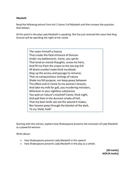 macbeth themes quiz 5 macbeth gcse exam questions for paper 1 aqa new spec by