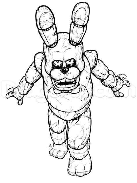 Fnaf 4 Coloring Pages by How To Draw Bonnie The Bunny Five Nights At Freddys Step
