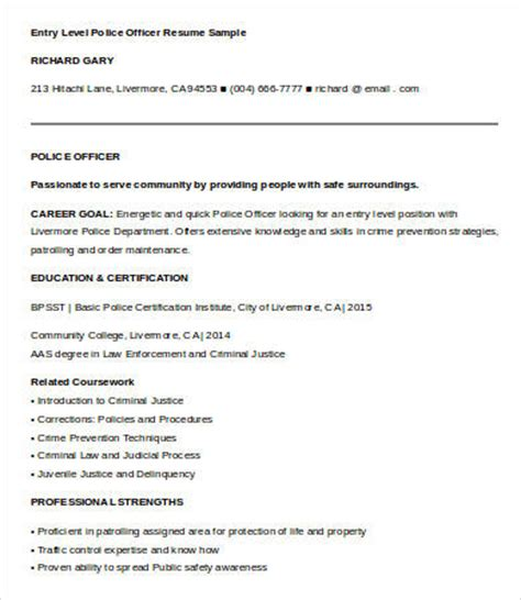 Entry Level Officer Resume Templates by 6 Officer Resume Templates Pdf Doc Free