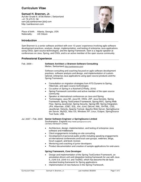 exle of cv resume for american resume sles sle resumes