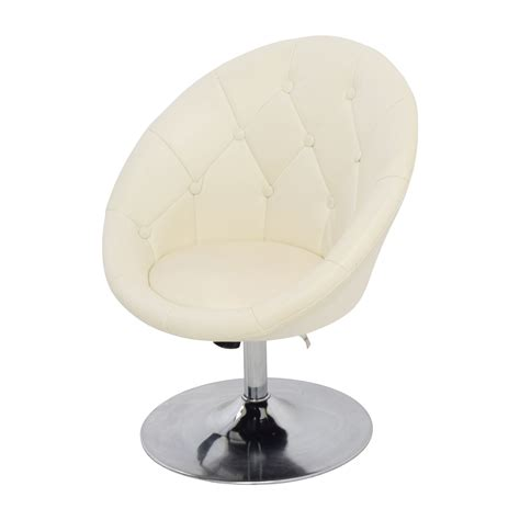 White Leather Swivel Chair by 59 Coaster Coaster Tufted White Leather Swivel