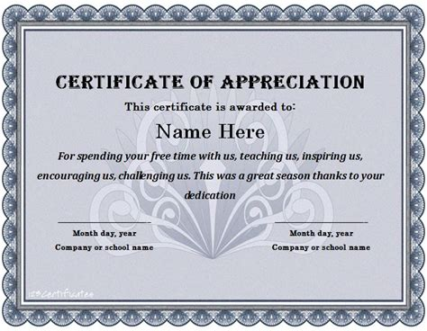 Free Printable Templates For Certificates Of Recognition by 30 Free Certificate Of Appreciation Templates And Letters