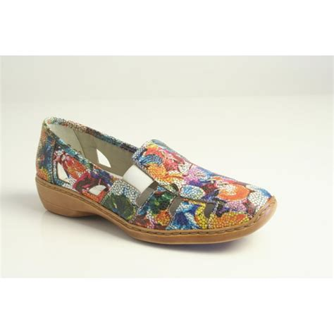 multi coloured flat shoes rieker rieker multi coloured slip on shoe with elasticated