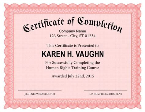 formal certificate template formal certificate of completion template