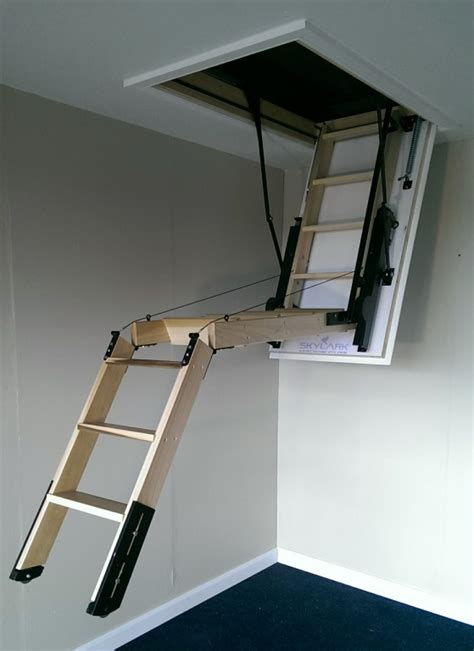 the skylark 3 section electric timber folding loft ladder