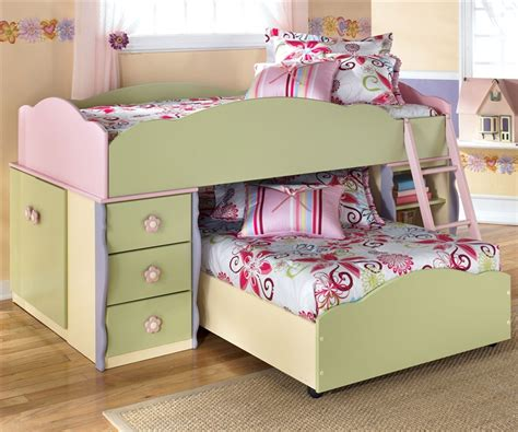 girls bunk bed sets ashley furniture doll house loft bed with built in dresser