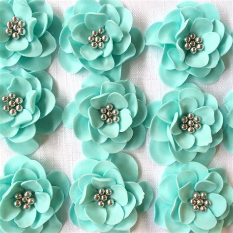 edible cupcake toppers for bridal shower fondant flowers 12 vintage teal silver edible flowers