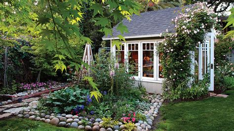 cottage style backyards favorite backyard sheds sunset