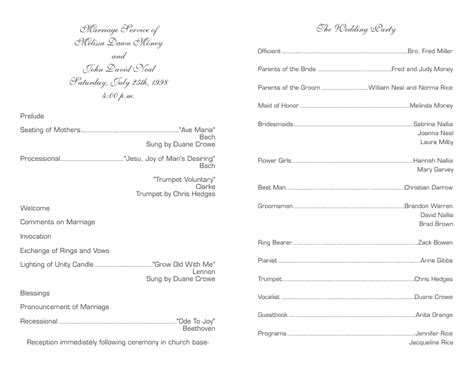 Wedding Program Template 6 Template For Wedding Program