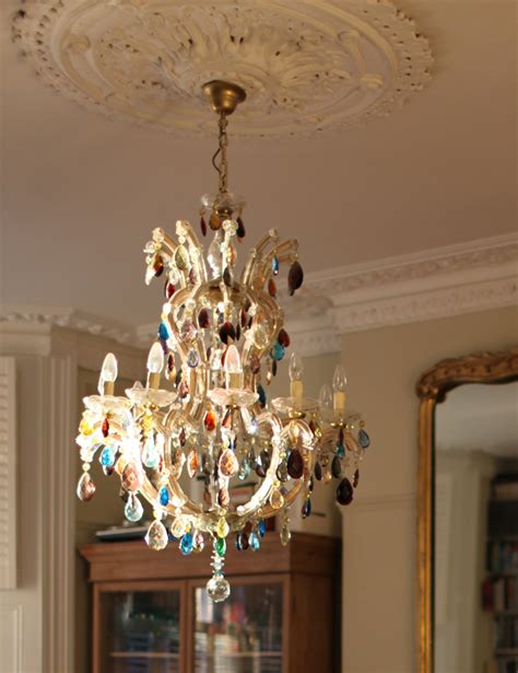 Coloured Chandeliers 10 Arm Large Therese Chandelier With Multi Coloured Droplets The Vintage Chandelier