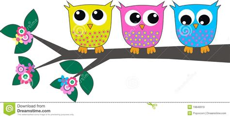 Childrens Wall Stickers Tree three cute owls royalty free stock images image 19849919