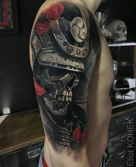 samurai skull in armor best tattoo design ideas