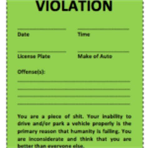 parking violation ticket template