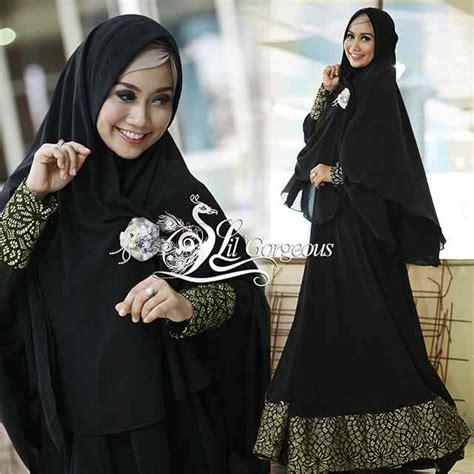 Gamis Fanta By Lil Gorgeous Dengan Jilbab syar i brokat gold baju muslim gamis modern