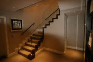 mesmerizing glass staircase lighting decors added grey