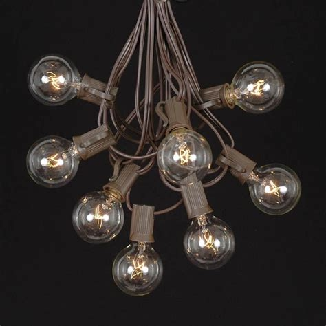 Novelty Patio Lights Clear G40 Globe Outdoor String Light Set On Brown Wire Novelty Lights Inc