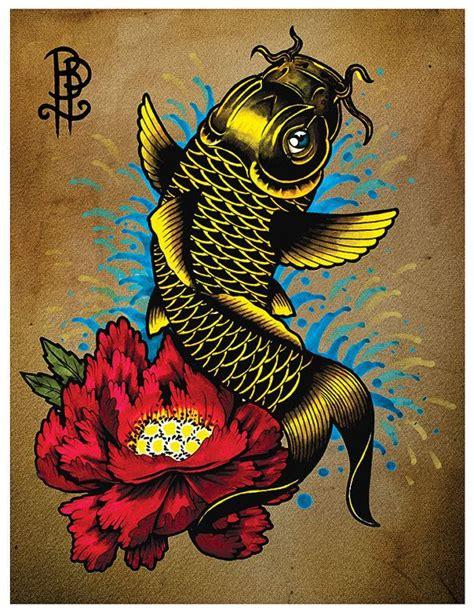 tattoo flash koi fish koi fish with a peony flower tattoo flash print