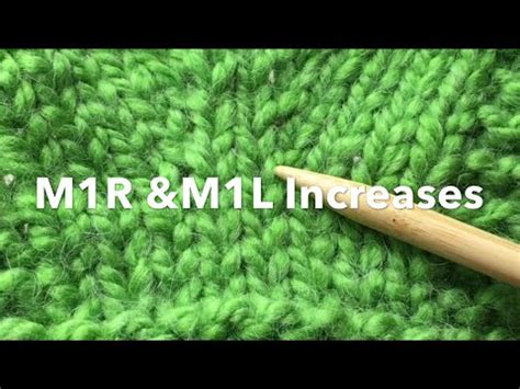 how to knit m1r knit make 1 increase m1 m1r m1l with motion