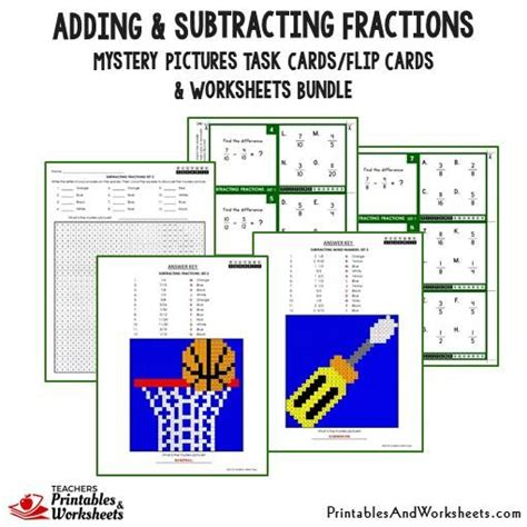 adding fractions card template adding and subtracting fractions task cards and worksheets