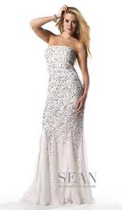 Sean collection white silver silk sequin prom dress 50448 french