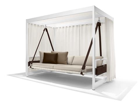 Swing Bed With Canopy Modern White Stained Wooden Canopy Swing Day Bed With Brown Sling And Mattress Also