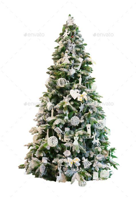 decorated xmas tree white background stock photo