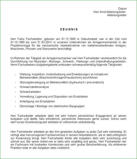 Vorlagen Zeugnis Muster Anlagenmechaniker Zeugnis Ag Sofort