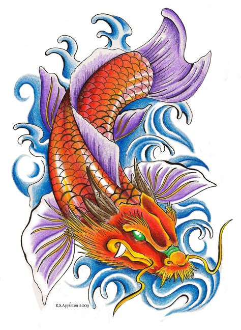 dragon and koi fish tattoo sample