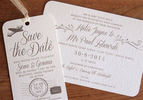 wedding invites after abroad luggage label save the dates wedding abroad wedding