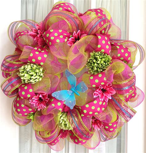 deco mesh wreaths deco mesh wreath pink lime turquoise by