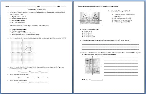 Rotations Worksheet 8th Grade by Translation Rotation Reflection Worksheet 8th Grade