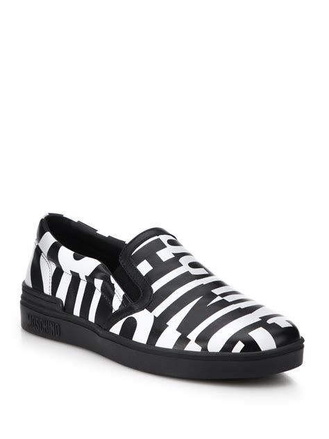 moschino sneakers mens moschino logo printed slip on leather sneakers in black