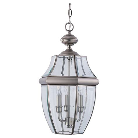 brushed nickel outdoor pendant light sea gull lighting lancaster 3 light antique brushed nickel