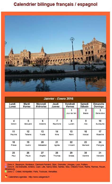 Calendrier Traduction Calendrier Mensuel 2016 Bilingue Fran 231 Ais Espagnol