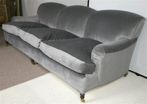 George Smith Furniture by George Smith Sofa In Charcoal Grey Velvet At 1stdibs
